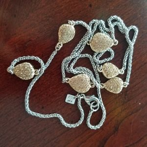 BR Silver/Gold/Rhinestone Long Station Necklace
